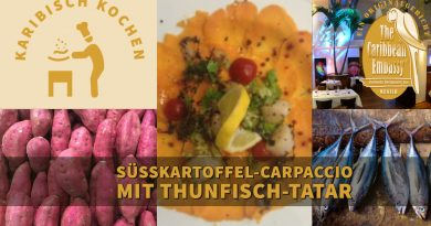 Süßkartoffel-Carpaccio mit Thunfisch-Tatar